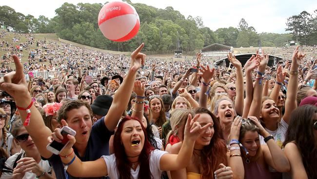 "Fans cheer band ""The 1975"" at Splendour. Picture: Jono Searle."