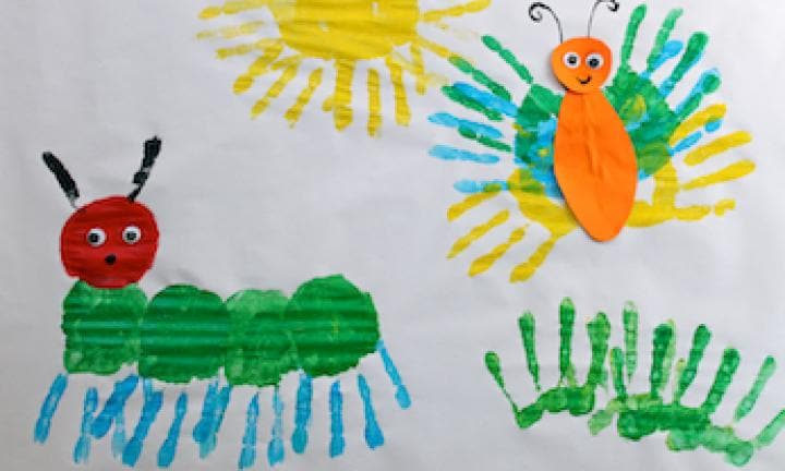 The Very Hungry Caterpillar handprint art