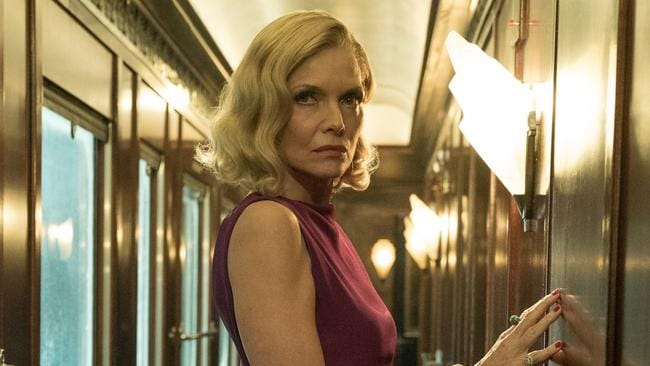 Michelle Pfeiffer as Mrs Hubbard in a scene from Twentieth Century Fox's film Murder on the Orient Express.
