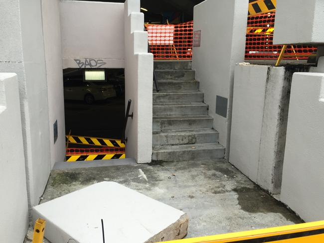 Concrete stairs at Bruce Bishop Car Park on the Gold Coast where part of a wall fell on Ms Merlini. Picture: Jessica Elder