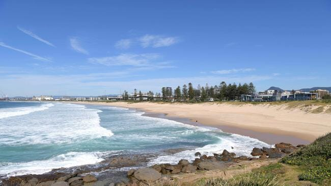 Closed … Wollongong beach today. Picture: Simon Bullard/AAP
