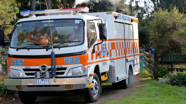 An SES truck attends the crash scene. Picture: Nicole Garmston