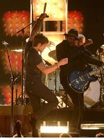 Musicians Keith Urban (L) and Gary Clark Jr. perform onstage during the 56th GRAMMY Awards at Staples Center. Picture: Getty