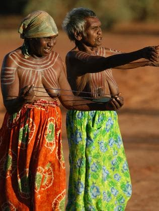 Aboriginal women from the remote Central Australian community of Ampilatwatja performing at a public ceremony in 2010 to protest against the Northern Territory intervention. Picture: Chris Graham.
