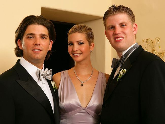 Donald Trump Jr. poses with his sister Ivanka Trump and brother Eric Trump after his wedding ceremony at the Mar-a-Lago Club in 2005 in Palm Beach, Florida. Photo: Carlo Allegri/Getty Images