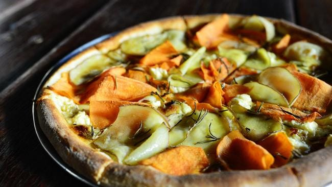Sweet potato, potato, rosemary, feta and maple syrup pizza. Source ...