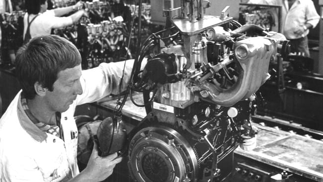 Holden's engine and components workers pictured in 1987. Picture: Herald Sun Image Library