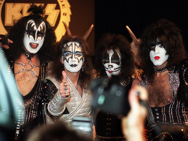 Peter Criss (second from right) with the original lineup of KISS in Sydney in the late '90s.