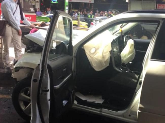 The driver was pulled from the car by an off-duty cop, the Victorian Premier said. Picture: Twitter/@LachlanVe