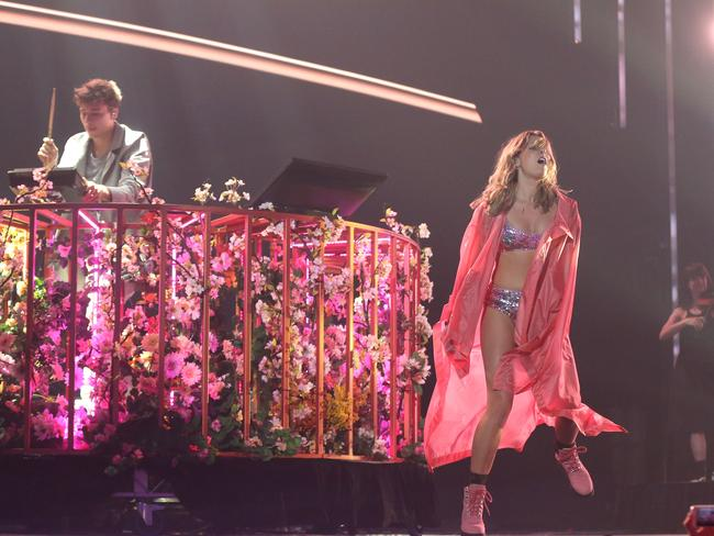 Flume performs Never Be Like You featuring Kai, on stage during the 30th Annual ARIA Awards. Picture: Getty