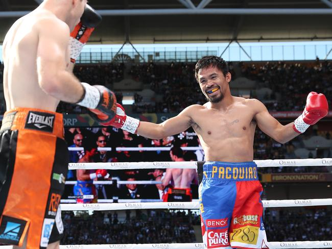 Manny Pacquiao smiles back at Jeff Horn. Pic Peter Wallis