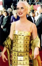 Australian costume designer Lizzy Gardiner attracted worldwide notoriety when she wore a dress made out of American Express gold credit cards at the Academy Awards in 1995. Picture: Supplied