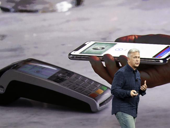 Phil Schiller, Apple's senior vice president of worldwide marketing, announces features of the new iPhone X. Picture: AP