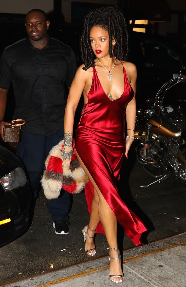 Rihanna partied into the wee hours. Picture: Splash News Australia