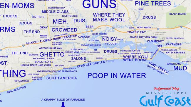 Honest opinion? A Judgemental Map of the Mississippi Gulf Coast. Picture: judgementalmaps.com