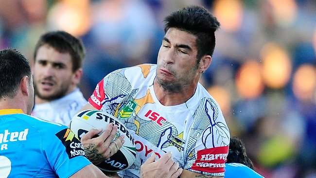James Tamou in action against the Titans. Photo by Ian Hitchcock/Getty Images
