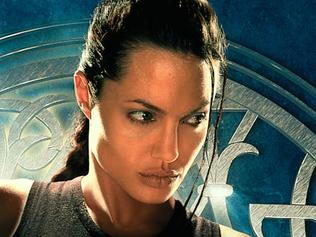 "USA actor Angelina Jolie in promotional poster for film ""Lara Croft: Tomb Raider"". /Films/Titles/Lara/Croft/Tomb/Raider"