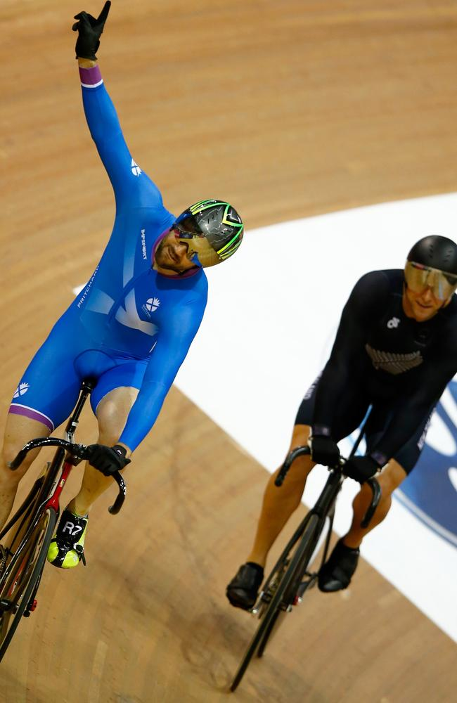 Chris Pritchard of Scotland rides in the velodrome.