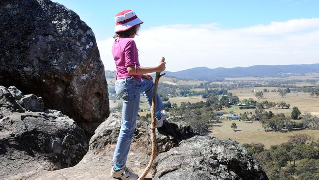 Taking in the view from the top of Hanging Rock.