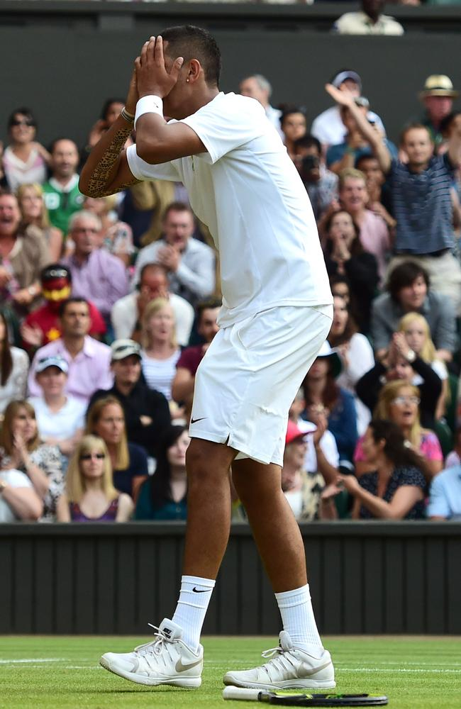 Unbelievable, unforgettable. Australia's Nick Kyrgios celebrates after beating Rafael Nadal.