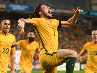 Australia's Mathew Leckie celebrates his goal during their World Cup Qualifier match between Australia and United Arab Emirates at the Sydney Football Stadium in Sydney, Tuesday, March 28, 2017. (AAP Image/Dean Lewins) NO ARCHIVING, EDITORIAL USE ONLY