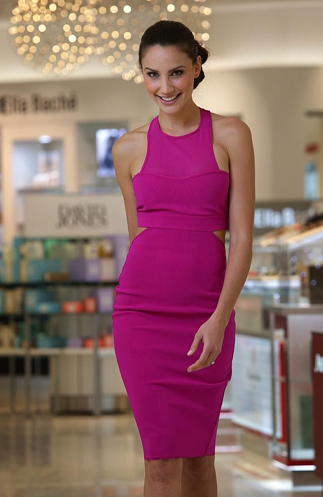 Former Miss Universe Australia Rachael Finch is in Brisbane for the opening of the new David Jones Indooroopilly. Pic: Steve Pohlner
