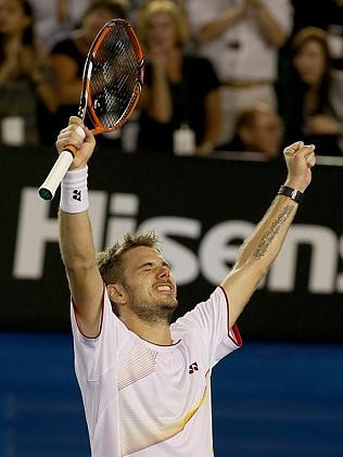 Stanisias Wawrinka celebrates his win. Picture: Wayne Ludbey