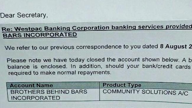 A copy of the letter purportedly from Westpac that the Brothers Behind Bars group.