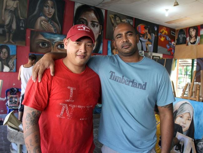 Bravery ... Bali Nine Andrew Chan and Myuran Sukumaran inside the workshop of Kerobokan jail in Bali