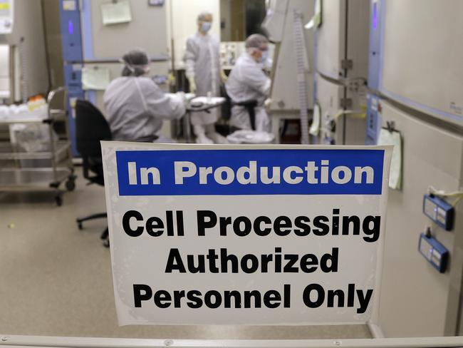 The cell processing facility at the Fred Hutchinson Cancer Research Center where workers create customised cellular immunotherapies for patients.