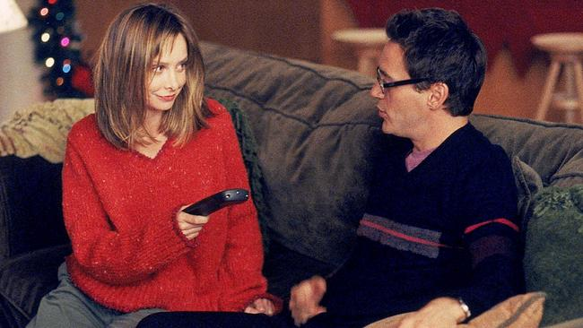 Calista Flockhart with Robert Downey Jr. in Ally McBeal.