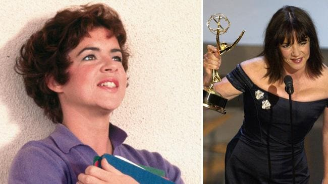 Stockard Channing as Rizzo and receiving an Emmy for The West Wing in 2002. Picture: AP