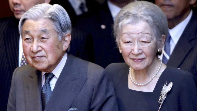 Japanese Emperor Akihito and Empress Michiko arrive to meet with Japanese community in Vietnam at a hotel in Hanoi, Vietnam in March, 2017. Picture: AP/Minh Hoang.