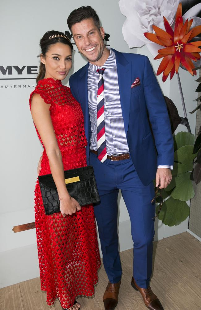 Snezana Markoski and Sam Wood pose inside the Myer Marquee at Flemington. Picture: ©MEDIA-MODE.COM
