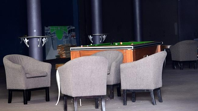 The pool table in the clubhouse which was raided by officers from Strike Force Raptor in