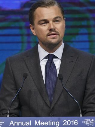 US actor Leonardo DiCaprio ripped into Big Oil in Davos. Picture: AP Photo/Michel Euler