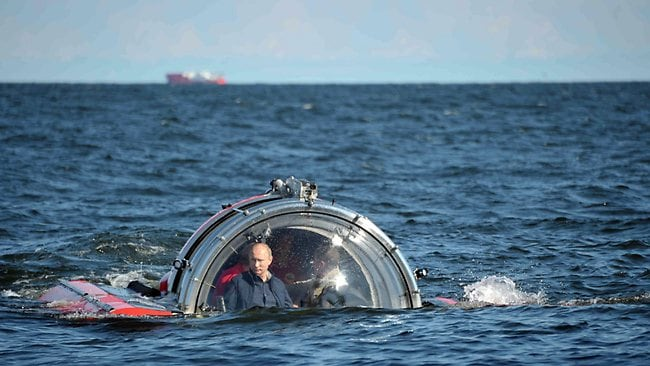 Russian President Vladimir Putin rode a submersive craft 60 metres below the Gulf of Finland to view a 1869 shipwreck. Picture: AFP
