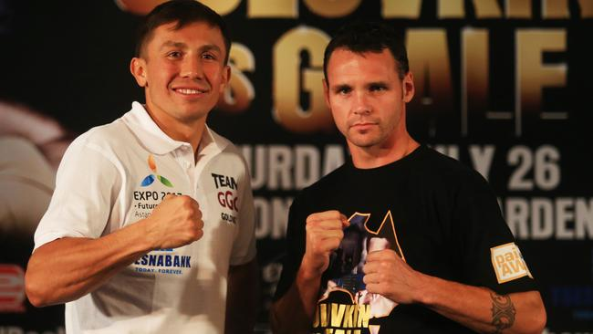Aussie Daniel Geale faces off with Gennady Golovkin.  <i>Picture: Adam Taylor</i>