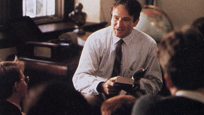 Robin Williams in Dead Poets Society.