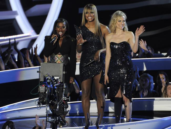 Uzo Aduba, from left, Laverne Cox and Taylor Schilling from Orange Is The New Black. Bow down, b**ches. Picture: AP