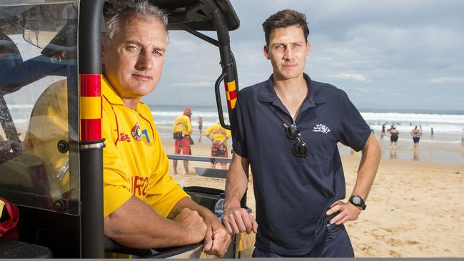 Bass Coast chief lifeguard Luke Plant and the Woolamai Surf Life Saving Club's Hamish Derricks spoke about the tragedy. Picture: Eugene Hyland