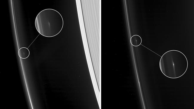 As NASA's Cassini spacecraft continues its weekly ring-grazing orbits, diving just past the outside of Saturn's F ring, it is tracking several small, persistent objects there. These images show two such objects that Cassini originally detected in spring 2016, as the spacecraft transitioned from more equatorial orbits to orbits at increasingly high inclination about the planet's equator. Picture: NASA/JPL-Caltech/Space Science Institute