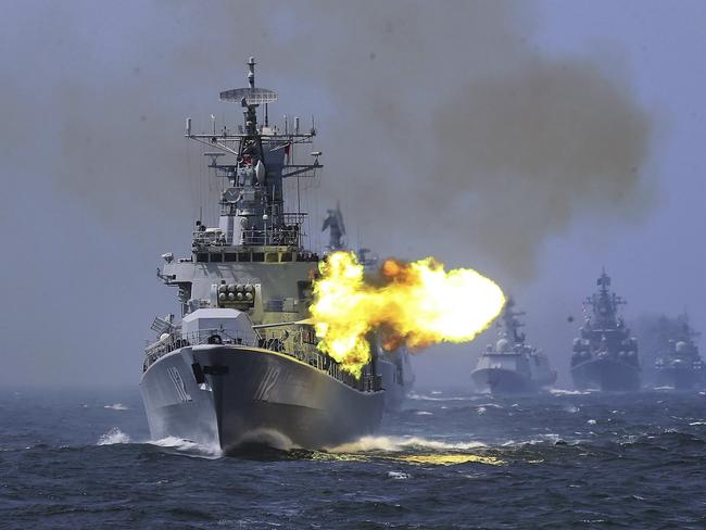 China's Harbin (112) guided missile destroyer takes part in a navy exercise at the East China Sea off Shanghai, China. Picture: AP