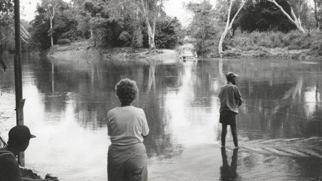 Moments after this photo was taken, 40-year-old Kerry McLoughlin was attacked and killed by a crocodile. Picture: NT News