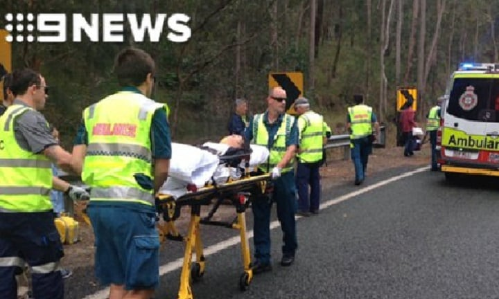 Pregnant woman hospitalised in QLD bus crash, 19 injured