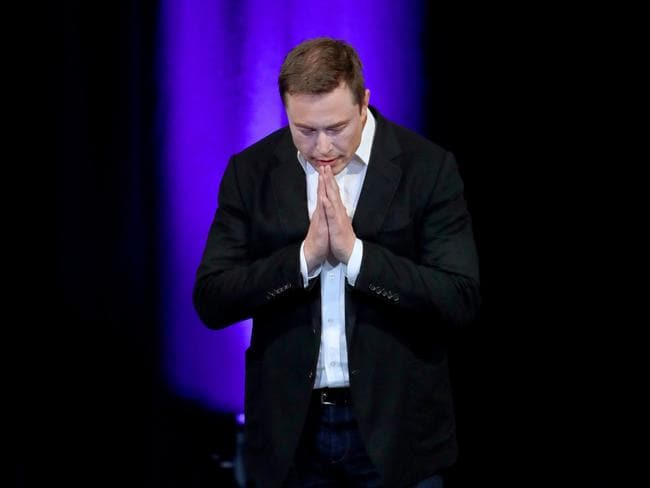 "Elon Musk during his SpaceX presentation ""Making Humans a Multiplanetary Species"" held at the Adelaide Convention centre. Picture: Dylan Coker"