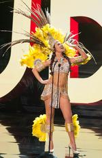 Alysha Boekhoudt, Miss Aruba 2015 debuts her National Costume on stage at the 2015 Miss Universe Pagaent on December 16, 2015 in Las Vegas. Picture: HO/The Miss Universe Organization
