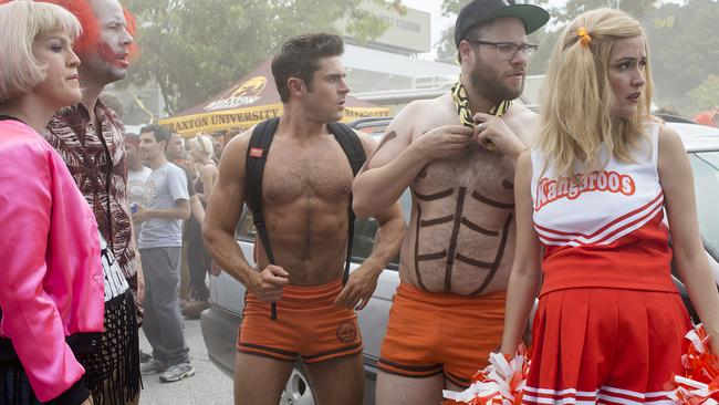 Rose Byrne, with Zac Efron and Seth Rogen, in a scene from Bad Neighbours 2.