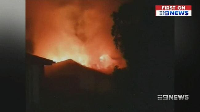 A teen was severely injured in a house fire south of Brisbnae. Picture: Channel 9 Brisbane