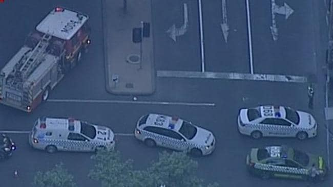 A pedestrian has been killed after they were hit by a truck on Queen St. Picture: Channel 7